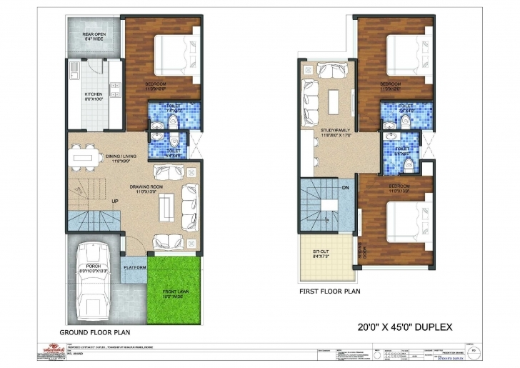 Cool Three Bedroom Duplex House Plans Or 20X45 Duplex Floor Plan 20 45 House Plans Duplex Photo
