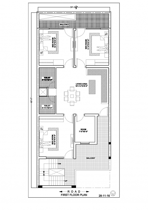 Exquisite 24×60 House Floor Plan – Ghar Banavo 28*60 House Plan Pic