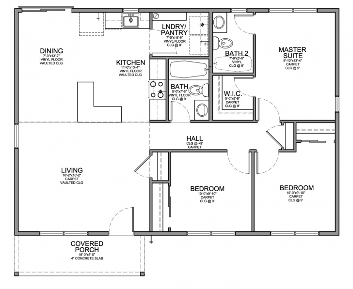Exquisite Floor Plan For Affordable 1,100 Sf House With 3 Bedrooms And 2 3 Bedroom Building Plan For Houses Pic