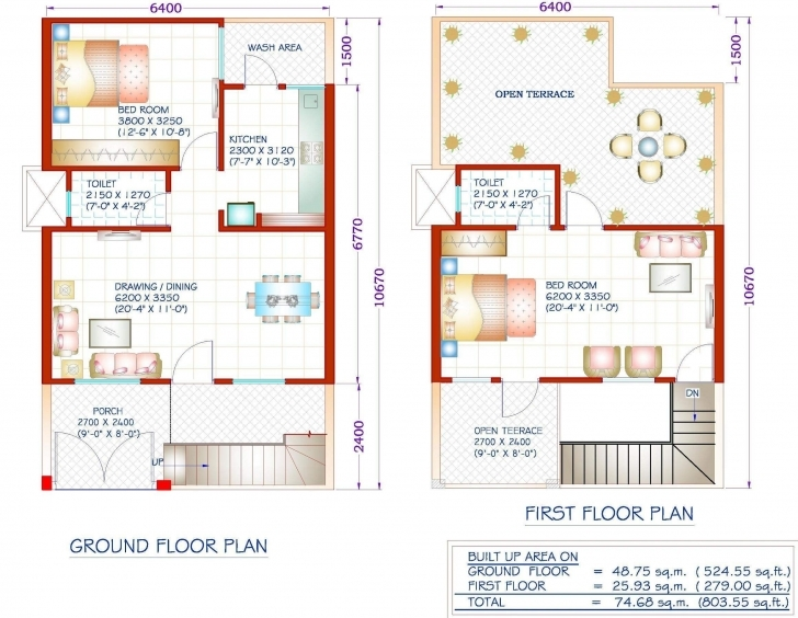 Exquisite House Plan 1200 Sq Ft House Plans With Car Parking Home Act House 20*35 Duplex House Plan Pic