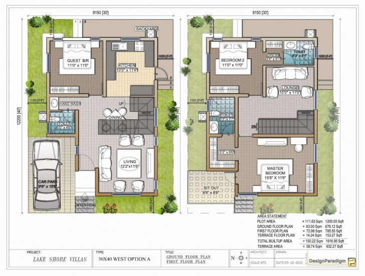 Exquisite Neoteric 12 Duplex House Plans For 30X50 Site East Facing 40 X 60 30 40 House Plans East Facing Duplex Image