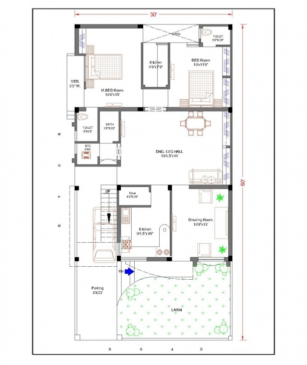 Fantastic 16 X 60 House Plans - Modern Hd House Map Design 15*60 Pic