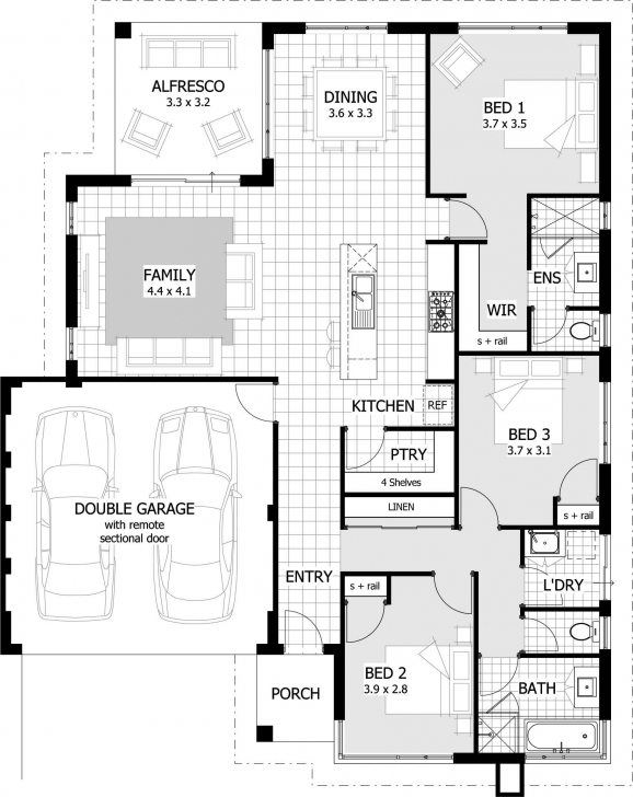 Fantastic 8 Simple 3 Bedroom Home Plan Design House Plans And Designs For 3 3Bedrooms With Garages Floor Plan Photo