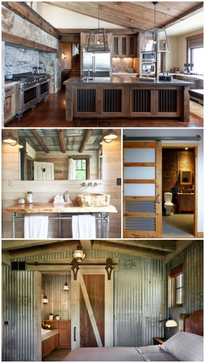 Fantastic Creative Ways To Use Corrguated Metal Inside Of Your Home   Rustic House Inside Metal Pic
