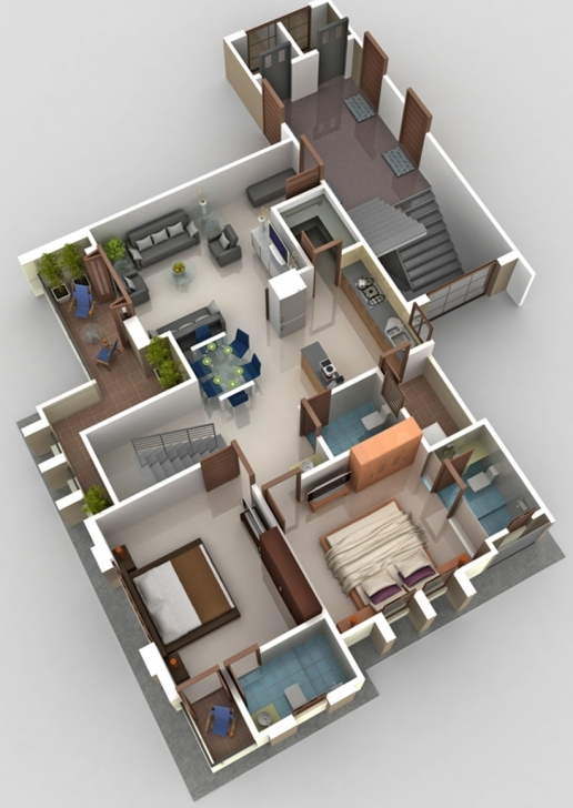 Fantastic D House Plans In Sq Ft Plan With Car Ideas 1200 3 Bedroom 3D Trends 1200 Sq Ft House Plan With Car Parking 3D Picture