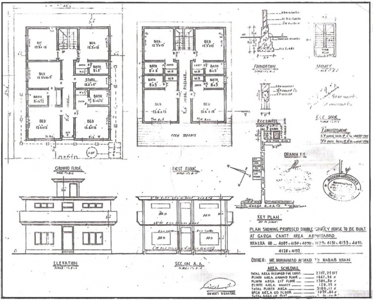 Fantastic Home Architecture: Ea O Ka Aina Bin Laden's House Plan, Excellent Simple Plan Section Elevation Drawings Photo