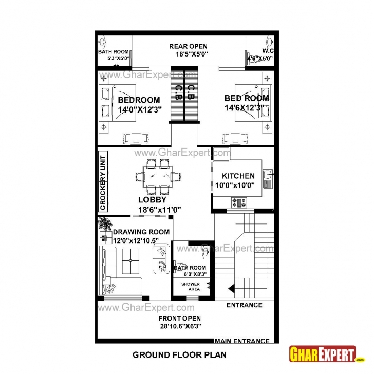 Fantastic House Plan For 30 Feet By 51 Feet Plot (Plot Size 170 Square Yards 10 Feet Front House Design Image
