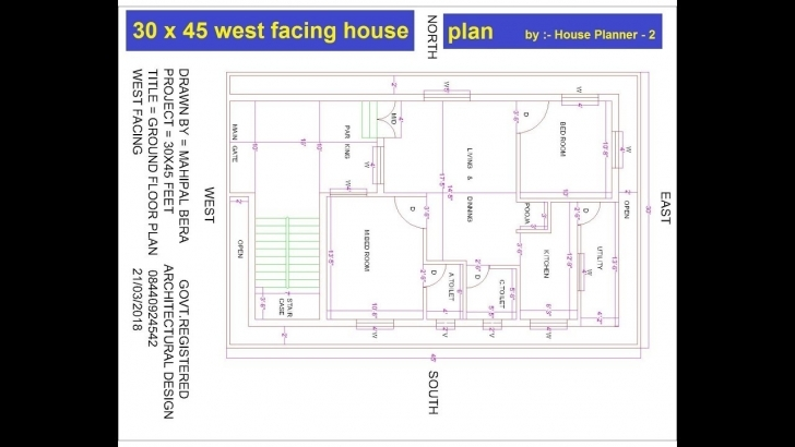 Fascinating 30 X 45 Feet Best West Facing House Plans | Best West Facing House 30X45 House Plan Picture