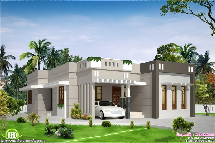 Fascinating Bedroom Single Storey Budget House Kerala Home Design Floor Small Single Storey House With Garage Pic