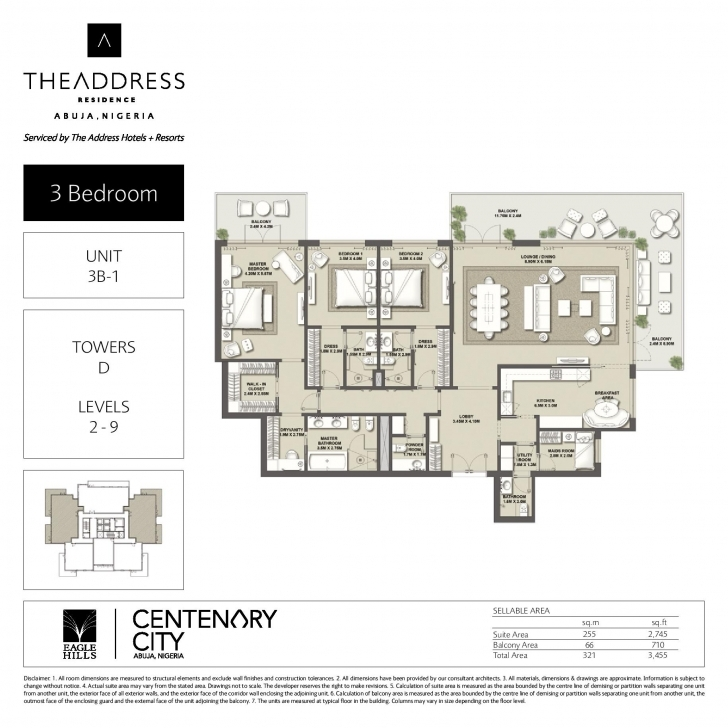 Fascinating Cc Address T-D-2-201 Abuja 3 Bedrooms Plans Image