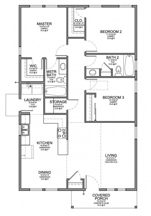 Fascinating Floor Plan For A Small House 1,150 Sf With 3 Bedrooms And 2 Baths 3 Bedroom House Plans With Garage Photo