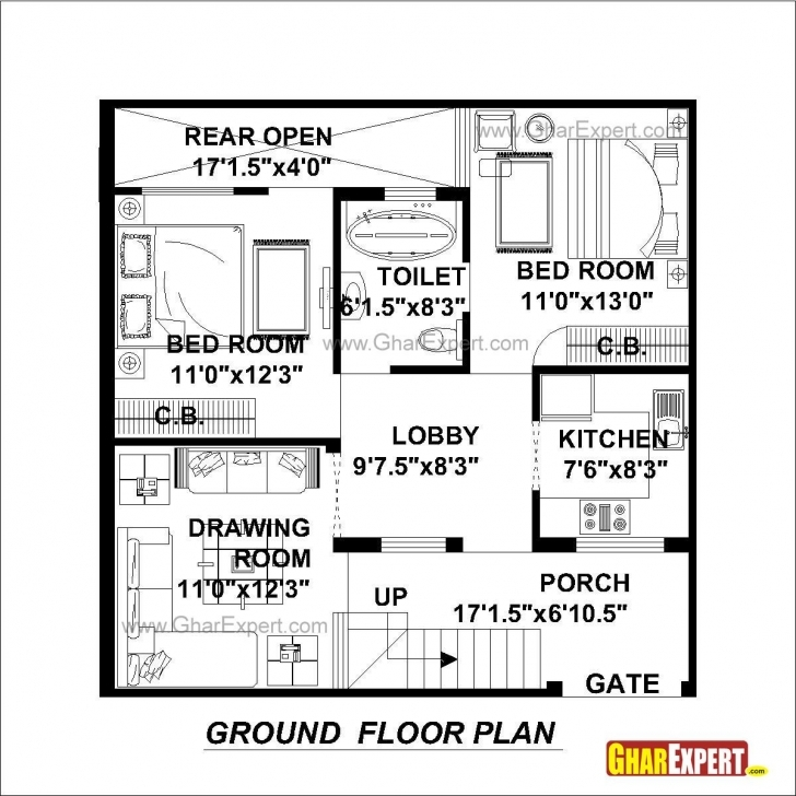 Fascinating House Plan For 30 Feet By 30 Feet Plot (Plot Size 100 Square Yards 100 Square Yard House Map Picture