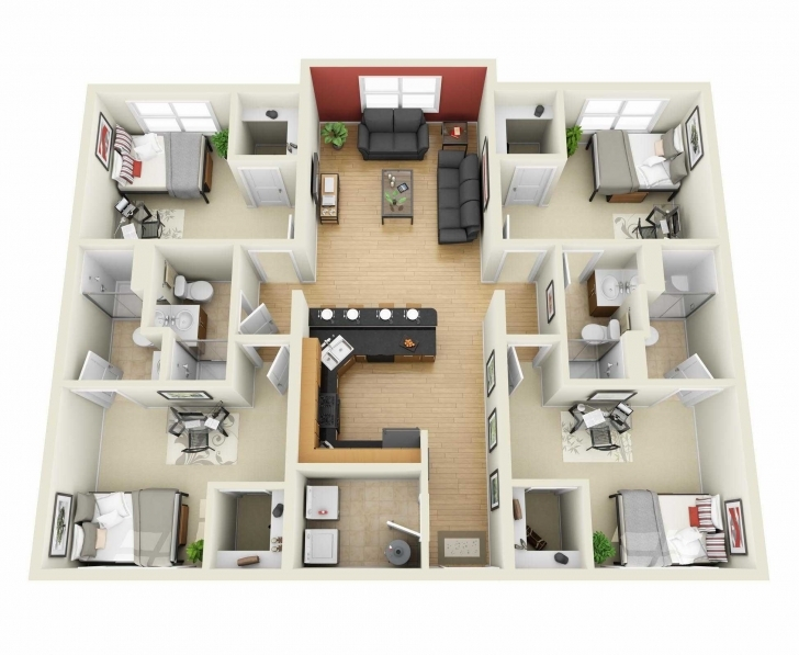 Fascinating Simple House Designs 4 Bedrooms 3D Pictures Bedroom And Attractive Simple House Plan With 6 Bedrooms 3D Pic