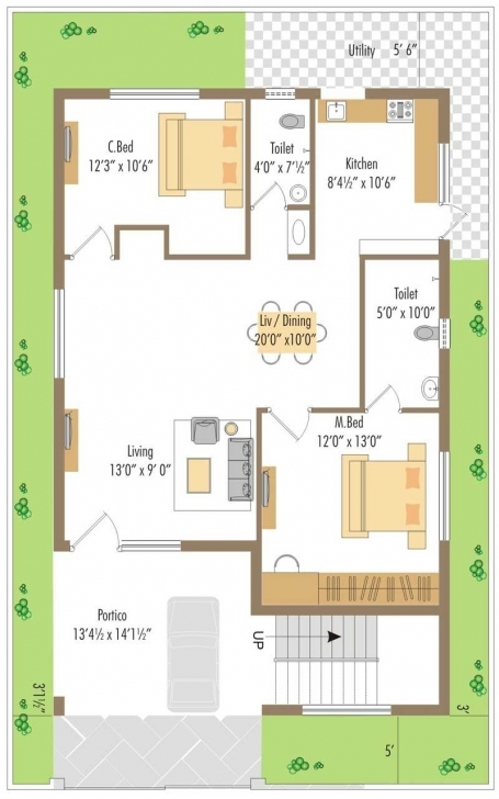 Fascinating West Facing Small House Plan - Google Search | Ideas For The House 20*35 House Plan South Facing Image