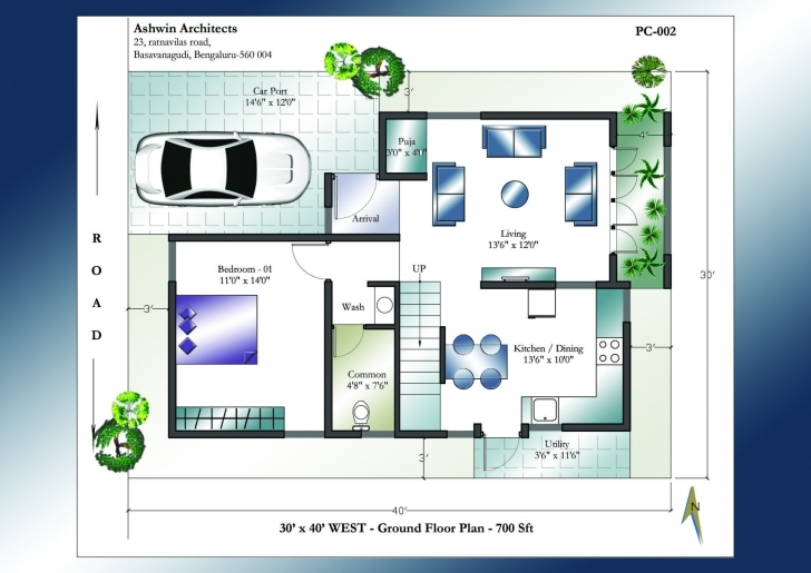Good 30 X 40 House Plans | 30 X 40 West Facing House Plans 30*45 North Face House Plan Pic