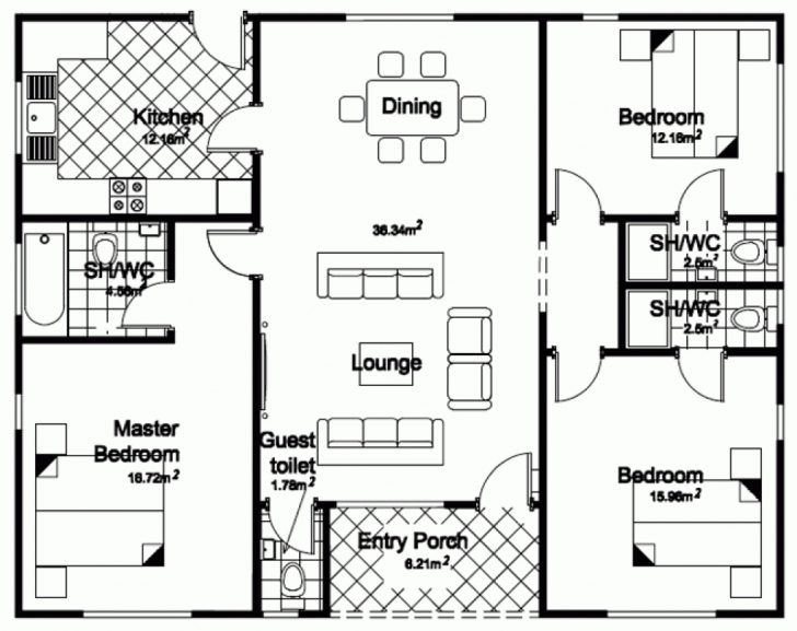 Good Inspiring 3 Bedroom Bungalow House Plans In Philippines 53 For Your Simple 3 Bedroom House Plans In Nigeria Picture