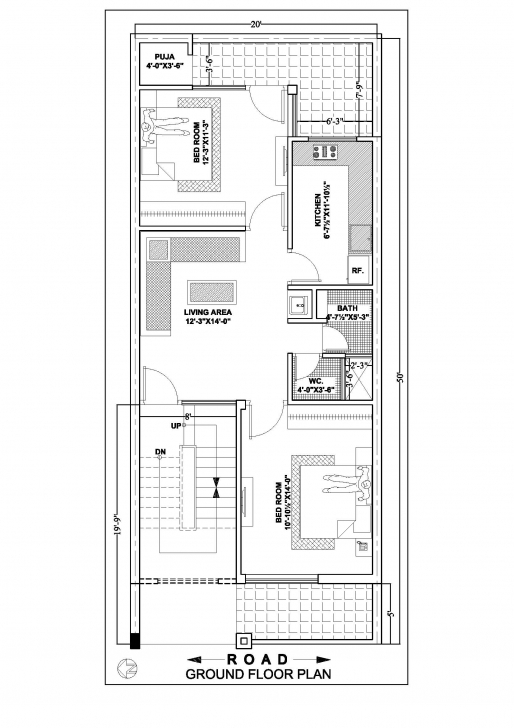 Gorgeous 20×50 House Floor Plan According To East,south,north,west Side 12*50 House Design Pic