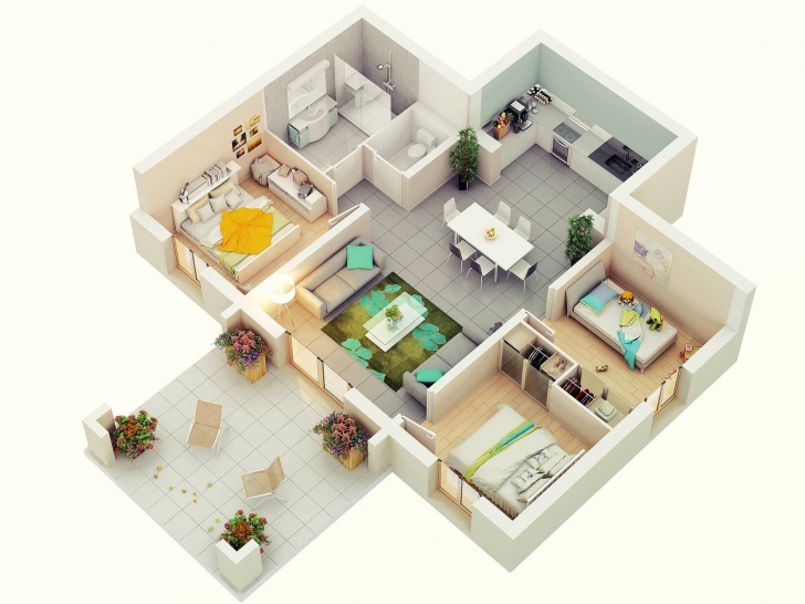 Gorgeous 3D Floor Plans   Home Design Simple House Plan With 6 Bedrooms 3D Pic