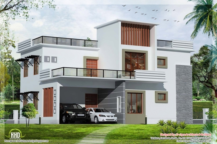 Gorgeous Bedroom Contemporary Flat Roof House Kerala Home Design Floor Image Of 3Bedroom Flat With Parapet Photo