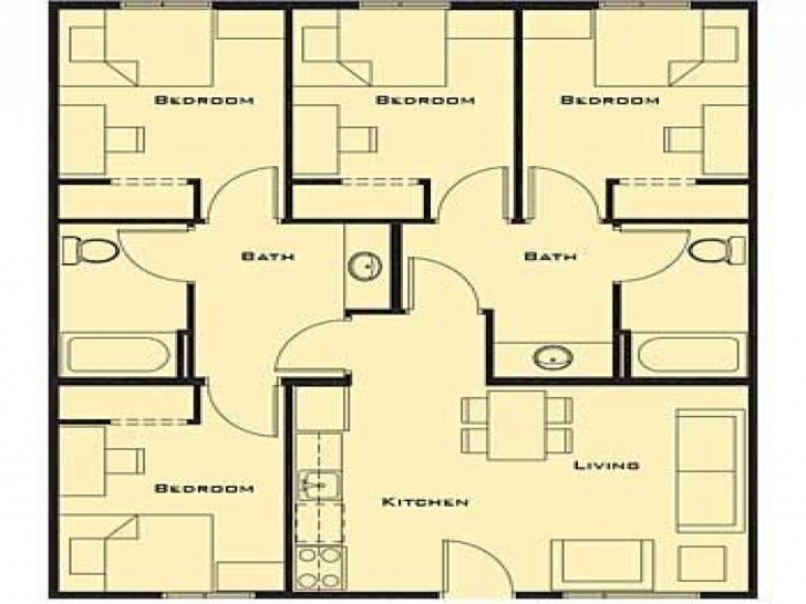 Gorgeous Bedroom: Small Four Bedroom House Plans Free Four Bedroom House Plans Pic