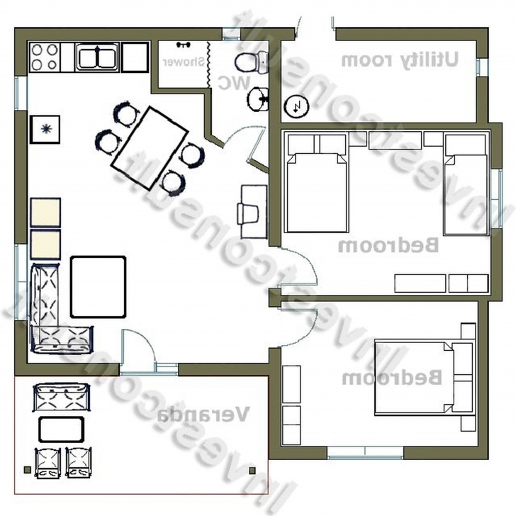 Gorgeous Fascinating Floor Plans For Small 2 Bedroom Houses With Kitchen Floor Plan Of 2 Bedroomed House In South Africa Photo