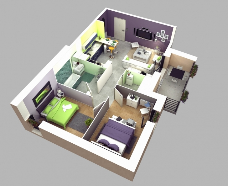 Gorgeous Simple House Plan With 2 Bedrooms And Garage 3D New 2 Bedroom Simple House Plan With 2 Bedrooms And Garage 3D Photo