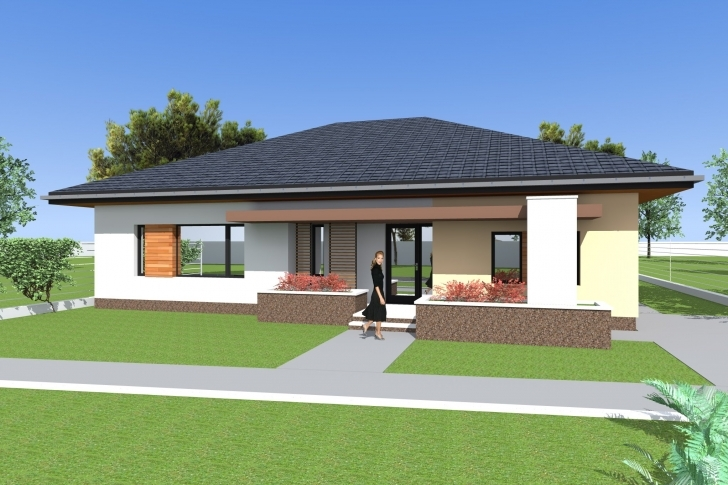 Gorgeous Three Bedroom Bungalow Design And 3D Elevations. Single Floor House Low Budget Modern 3 Bedroom House Design In Kenya Picture