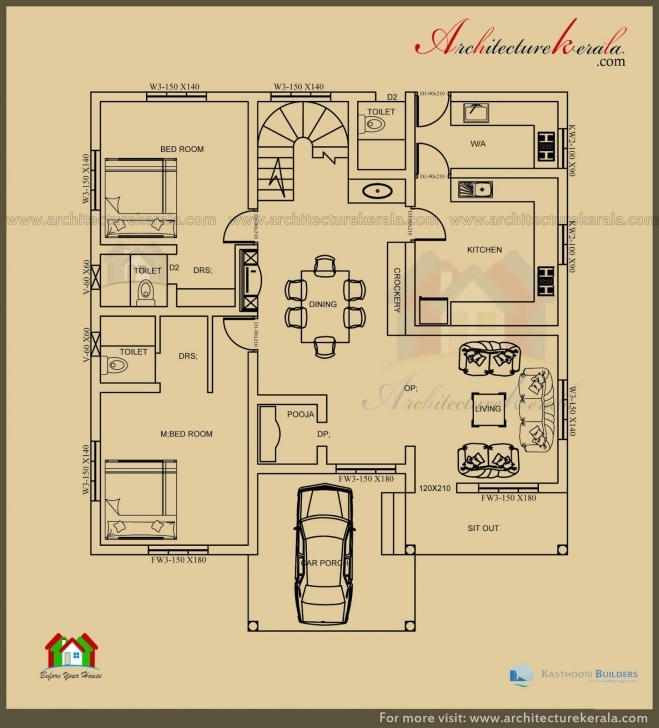 Great 2500 Sq Ft 3 Bedroom House Plan With Pooja Room - Architecture Kerala House Plans In Kerala With 3 Bedrooms Pic