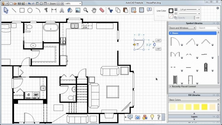 Great Adding Doors, Windows And More — Autocad Freestyle Symbols Tutorial Autocad Plan 2D Top Picture