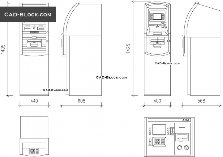 Great Atm Machine Cad Blocks, Dwg File, Free Autocad Drawings In Plan And Plan Elevation And Section Drawings Dwg Image