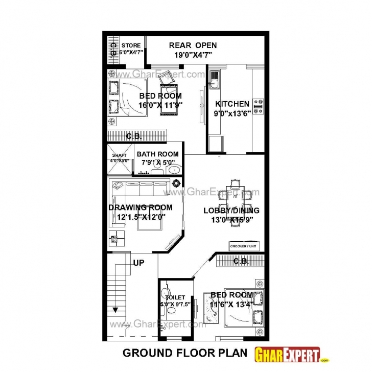 Great House Plan For 27 Feet By 50 Feet Plot (Plot Size 150 Square Yards 16*50 House Plan Image