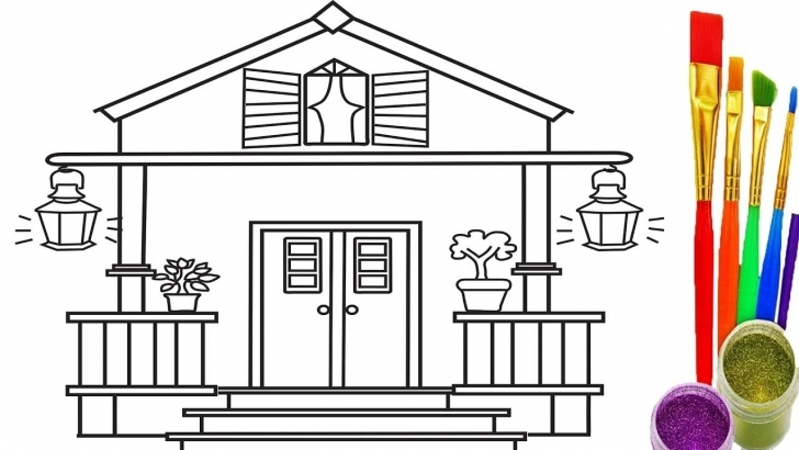 Great How To Draw House For Kids Coloring Pages And Learn Colors For How To Draw Home For Kids Picture