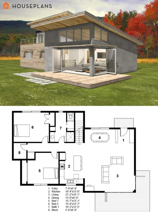 Great Modern Style House Plan - 3 Beds 2.00 Baths 2115 Sq/ft Plan #497-31 Modern Cabin Plans Pic