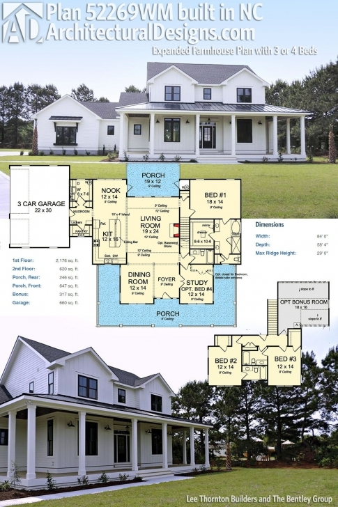 Great Plan 52269Wm: Expanded Farmhouse Plan With 3 Or 4 Beds | Modern Modern Farmhouse Open Floor Plans One Story Photo