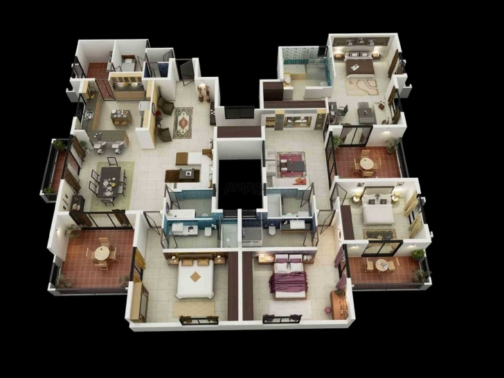 Great Stunning 4 Bedroom House Layout Map 3D Ideas And One Four Layouts 3D 4 Bedroom House Plans One Story Pic