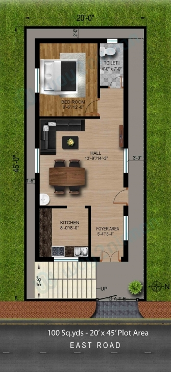 Image of 100-Sq.yds@20X45-Sq.ft-East-Face-House-1Bhk-Floor-Plan | 건축 20X45 House Plan East Facing Pic