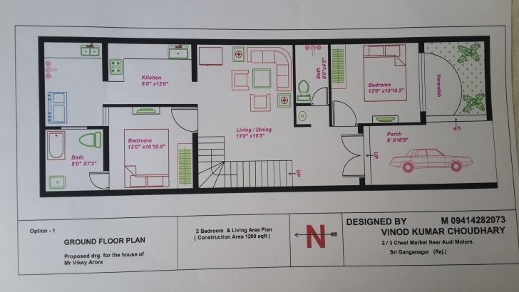 Image of 20 X 60 House Plans - Gharexpert 15*50 House Plan 2Bhk Image