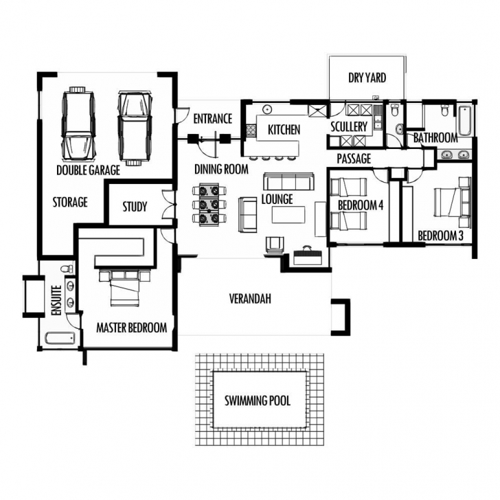 Image of 3 Bedroom 285M2 Floor Plan Only Houseplanshq And House Plans South House Plans South Africa 3 Bedroomed With Garage Photo