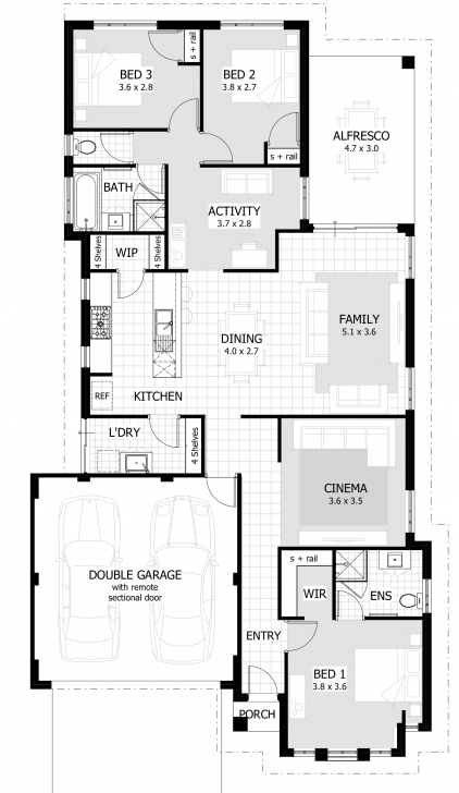 Image of 3 Bedroom House Plans & Home Designs | Celebration Homes 3 Bedroom Building Plan For Houses Photo