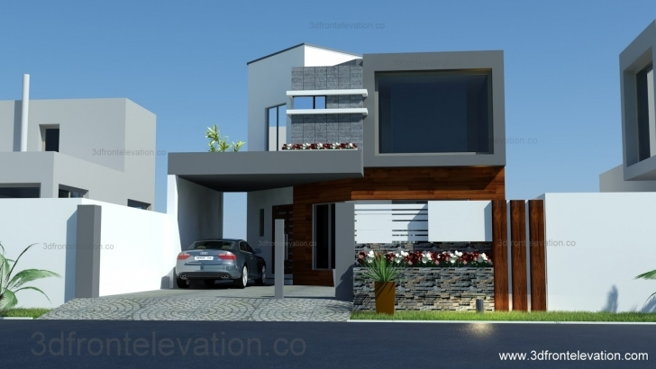 Image of 3D Front Elevation: 8 Marla House Plan-Layout-Elevation 3D Front Elevation Of House Picture