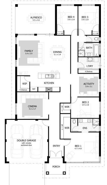 Image of 4 Bedroom House Plans & Home Designs | Celebration Homes 4Bedroom Bungalow And The Floor Plan Picture