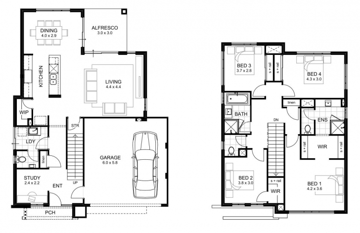 Image of 4 Bedroom Single Story Floor Plans | Home Design Simple 4 Bedroom House Plans One Story Photo