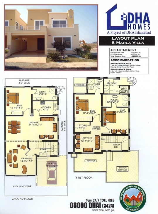 Image of Dha Home 8 Marla Corner & Park Face ( 50 Ft Wide Road )   50Ft House Map Photo