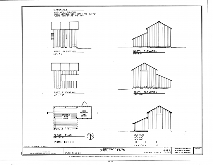 Image of File:pump House - Elevations, Floor Plan And Section - Dudley Farm House Floor Plans Elevations Pic