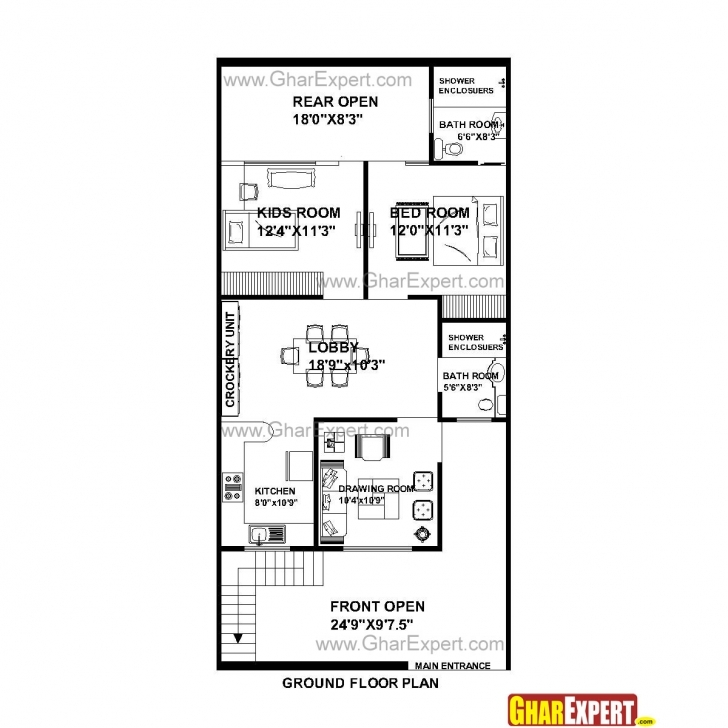 Image of House Plan For 25 Feet By 53 Feet Plot (Plot Size 147 Square Yards 20*60 House Plan 2Bhk Photo
