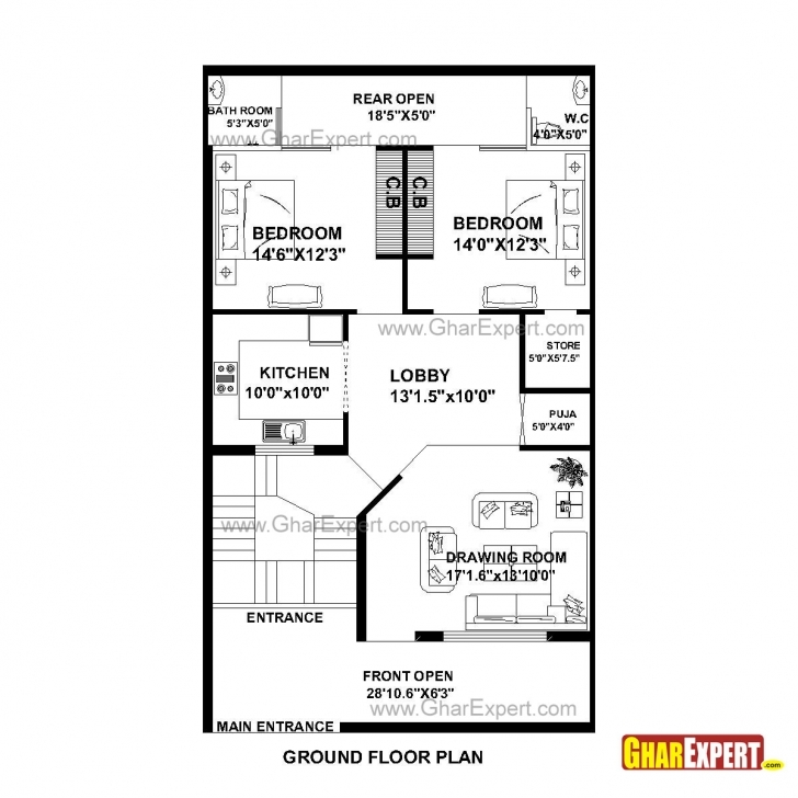 Image of House Plan For 30 Feet By 51 Feet Plot (Plot Size 170 Square Yards Map Of House 53*53 Photo