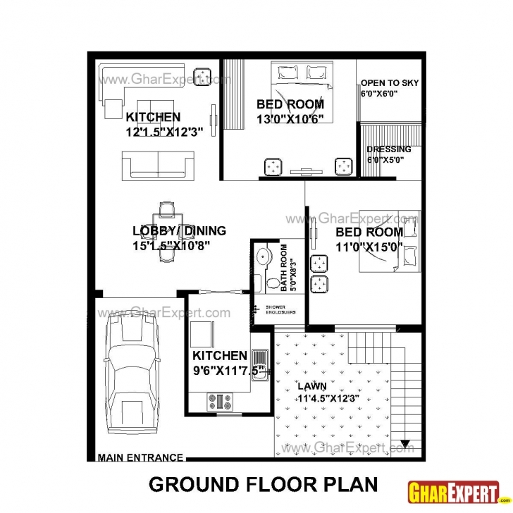 Image of House Plan For 33 Feet By 40 Feet Plot (Plot Size 147 Square Yards 3Bhk House Plan 35×40 Image