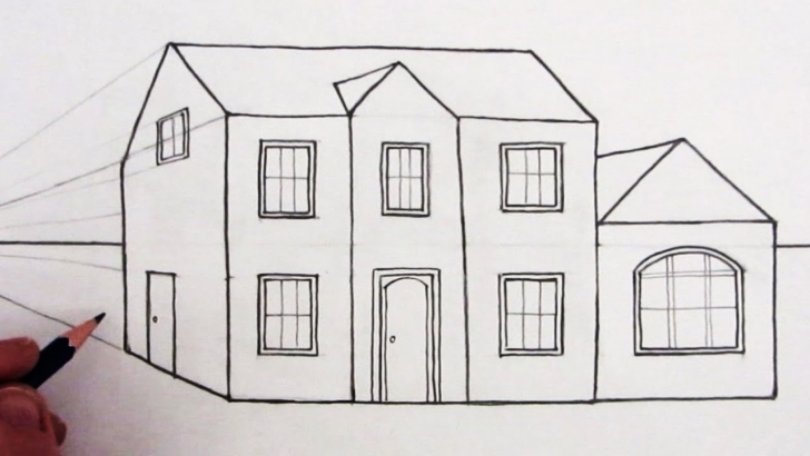 Image of How To Draw A House In 1-Point Perspective: Narrated - Youtube How To Draw A Beautiful House Step By Step Image