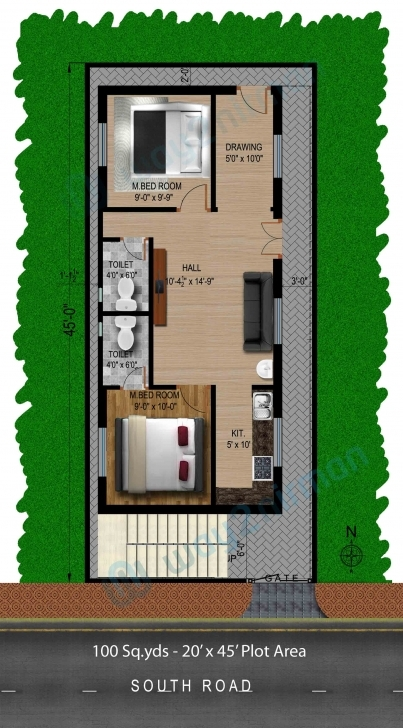 Image of Way2Nirman: 100 Sq Yds 20X45 Sq Ft South Face House 2Bhk Floor Plan 20 45 House Plans East Facing Pic
