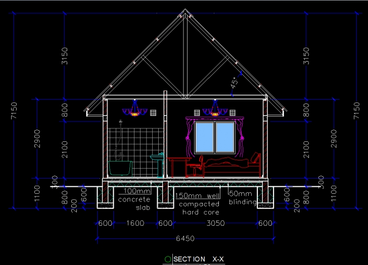 Image of Wooden House (Chalet) 2D Dwg Plan For Autocad • Designs Cad Autocad 2D House Picture